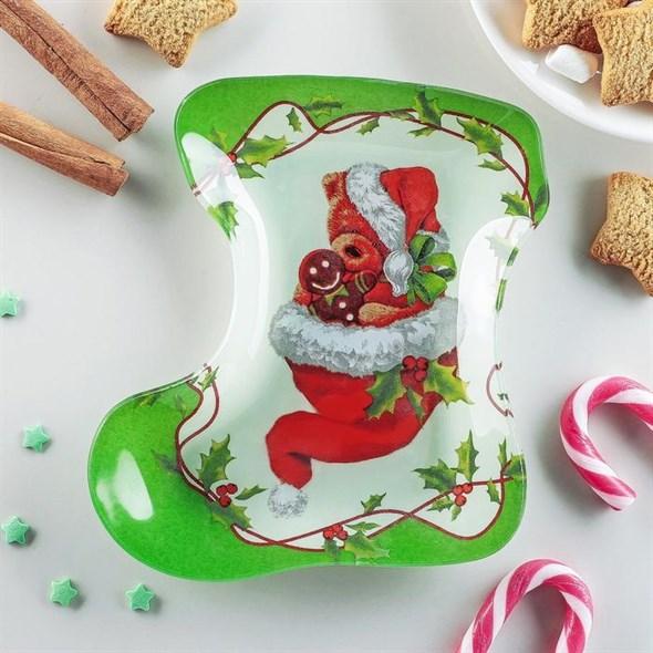 """Блюдо стеклянное """"Новогодние подарки"""" - фото 25397"""