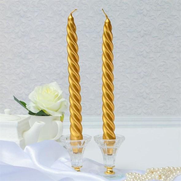 Набор из двух свечей золотистых - фото 25495