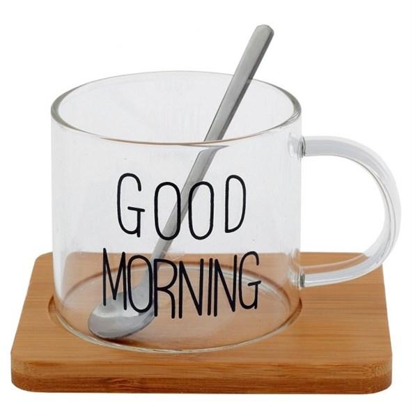 """Кружка """"Доброе утро"""" 300 мл с ложкой на подставке в ассортименте - фото 25714"""