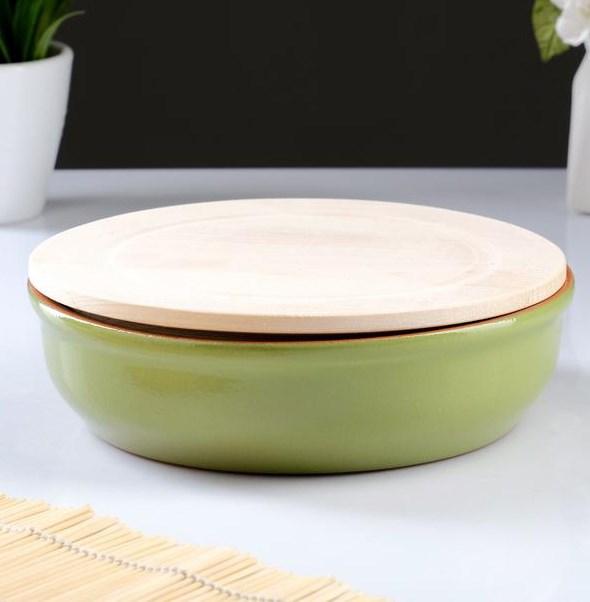 Блюдо 900 мл зеленое с деревянной крышкой - фото 26168