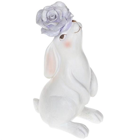 """Статуэтка """"Заяц с фиолетовым цветком"""" большой - фото 26265"""