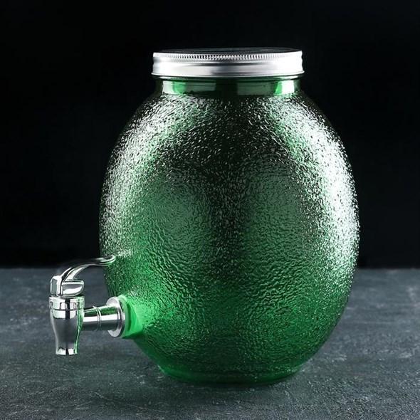 Лимонадник стеклянный на 4 литра зеленый - фото 26339