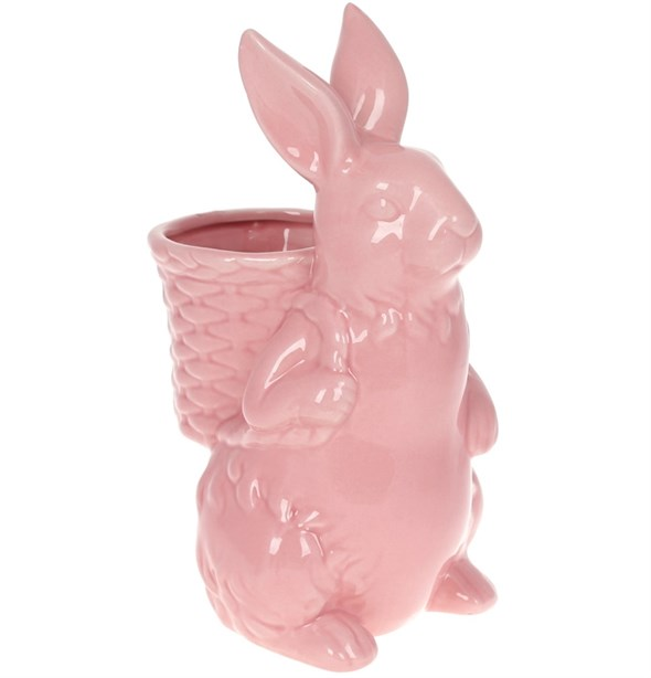 Заяц с корзинкой 26 см розовый - фото 26428
