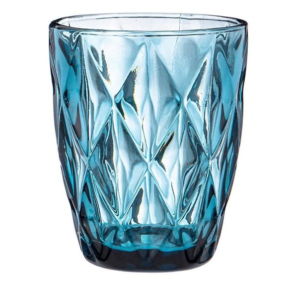 """Стакан """"Клетка"""" синий 280 мл из цветного стекла"""