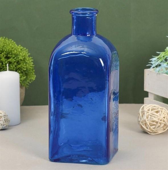 Ваза-бутылка стеклянная синяя - фото 26858