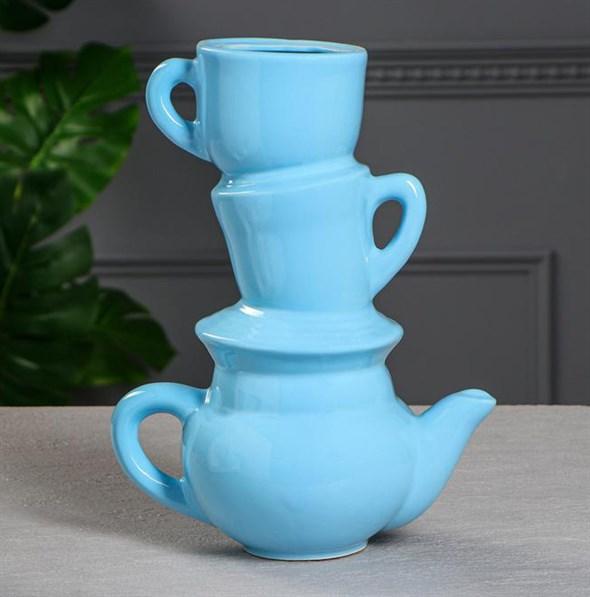 """Ваза """"Чайный сервиз"""" синяя - фото 26861"""