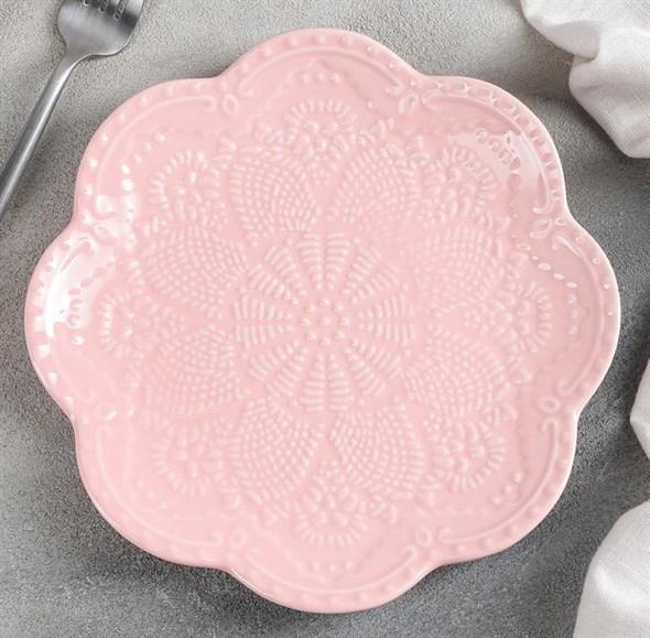 "Тарелка ""Кружево"" 20 см розовая - фото 26914"
