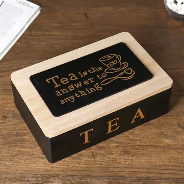 Шкатулка для чайных пакетиков на шесть отделений черная - фото 27039