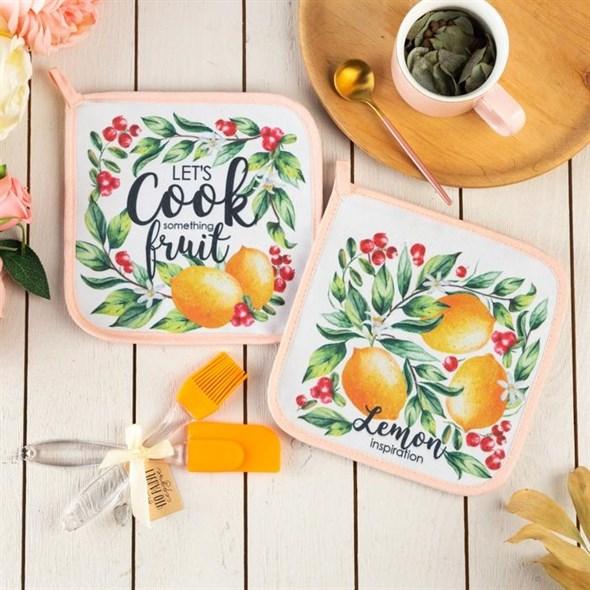 """Набор подарочный """"Лимоны"""" из двух прихваток, лопатки, кисти - фото 27142"""