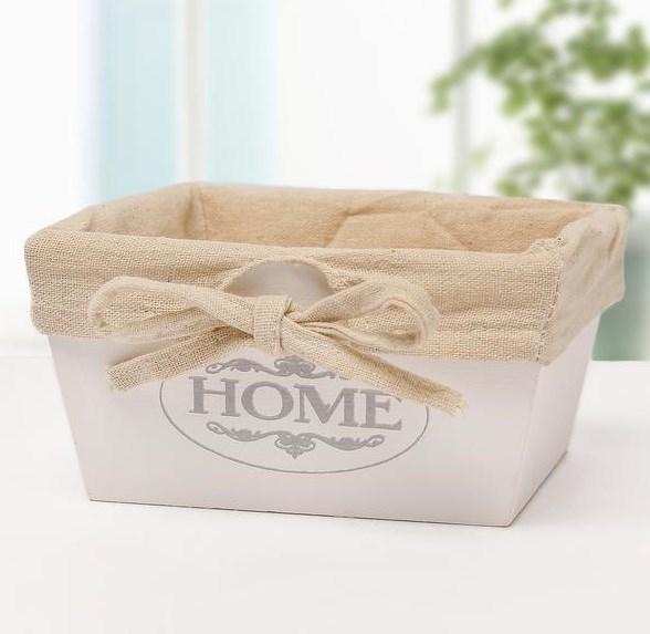 """Ящик деревянный """"Дом/Home"""" с подкладкой 22х22 см - фото 27306"""