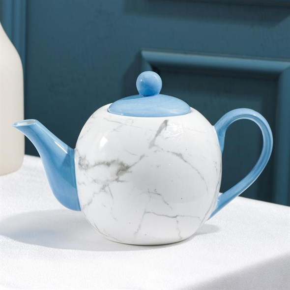 """Чайник заварочный """"Мрамор"""" синий 800 мл - фото 27374"""
