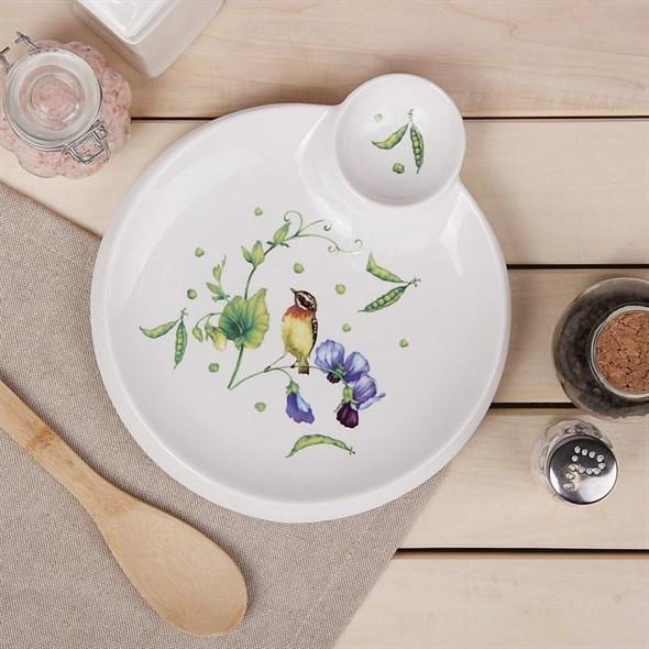 """Блюдо с соусником """"Птица на ветке"""" 20 см - фото 27436"""