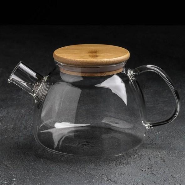 Чайник заварочный стеклянный 800 мл с ситом - фото 27494