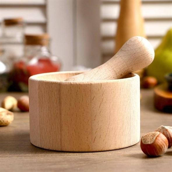 Ступка с пестиком деревянная - фото 27666