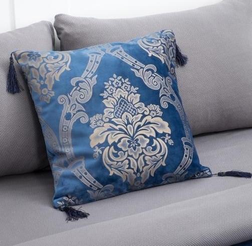 Наволочка декоративная с кисточками 40х40 см синяя - фото 27704
