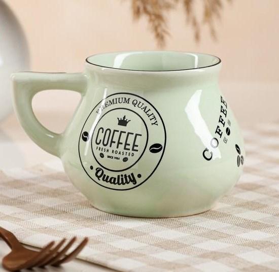 """УЦЕНКА. Кружка """"Кофе"""" 300 мл зеленая  в ассортименте (см. фото) - фото 27706"""