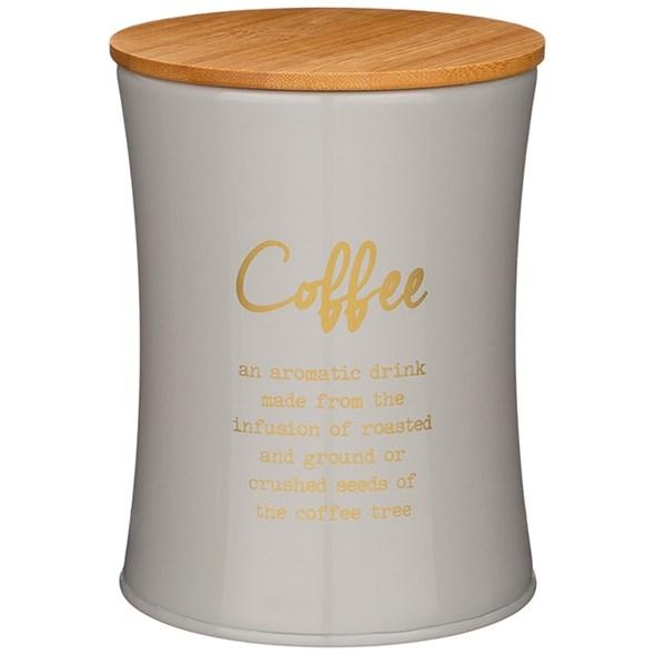 """Банка для хранения """"Кофе"""" 1100 мл металлическая серая - фото 27815"""