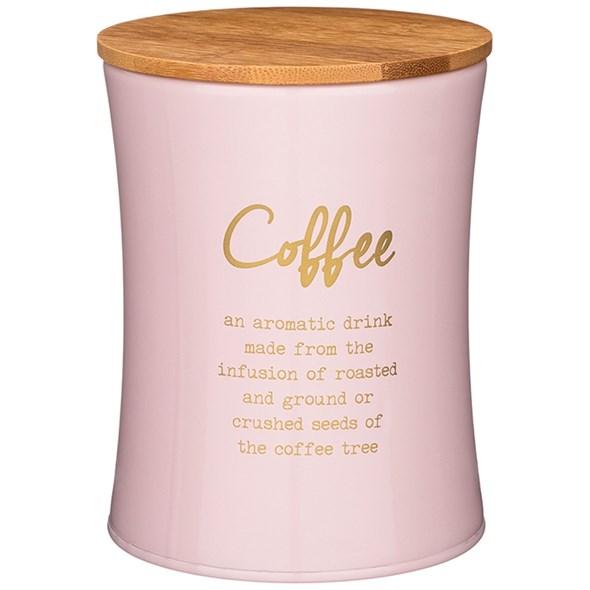 """Банка для хранения """"Кофе"""" 1100 мл металлическая розовая - фото 27817"""