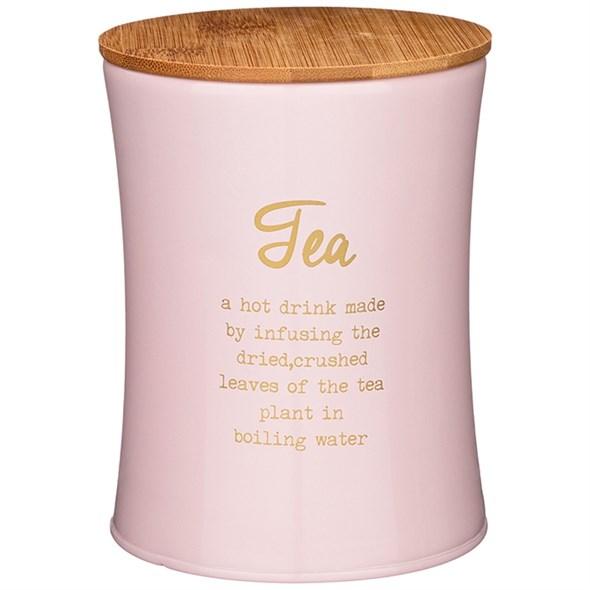 """Банка для хранения """"Чай"""" 1100 мл металлическая розовая - фото 27818"""