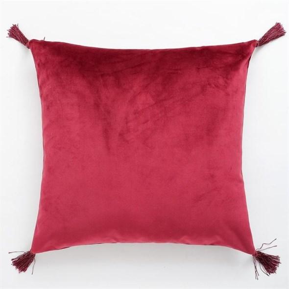 Наволочка декоративная с кисточками красная 40х40 см - фото 27927