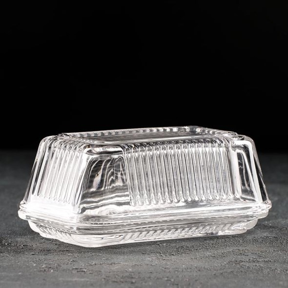 Масленка стеклянная 17х10 см - фото 28637