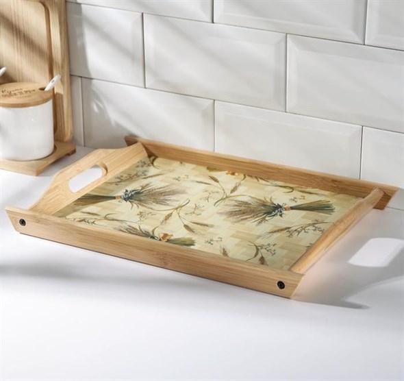 Поднос  деревянный с рисунком 39х27 см - фото 28639