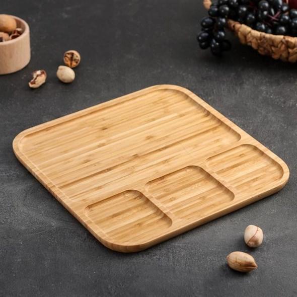 Блюдо деревянное для подачи 30х30 см - фото 28644