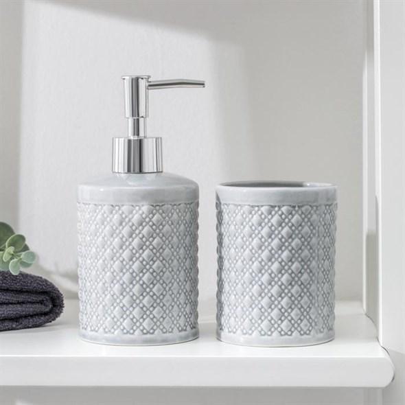 Набор для ванной комнаты серый - фото 28755