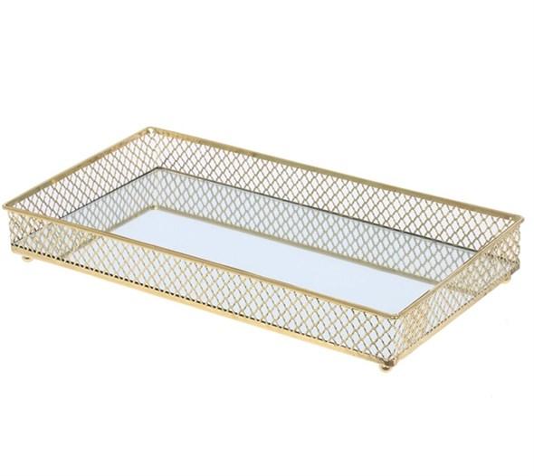 Поднос металлический со стеклянным основанием - фото 28768