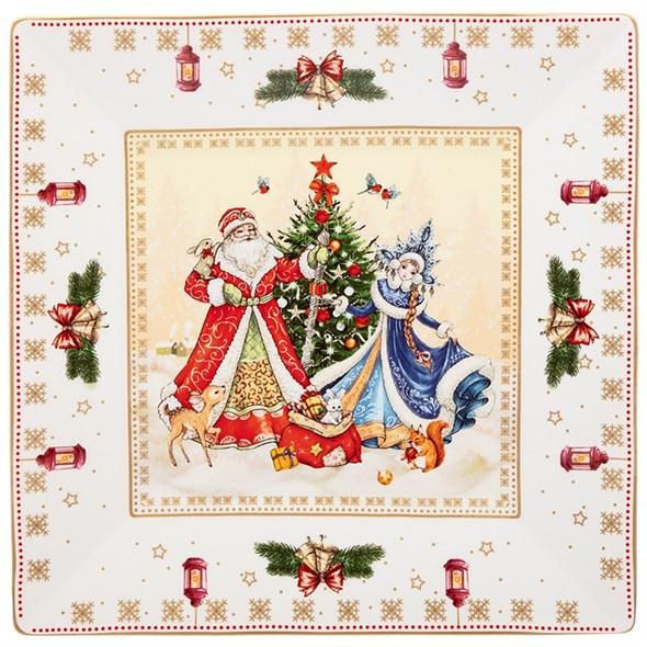 """Блюдо """"Дед Мороз и Снегурочка"""" белое 22 см в подарочной упаковке - фото 28813"""