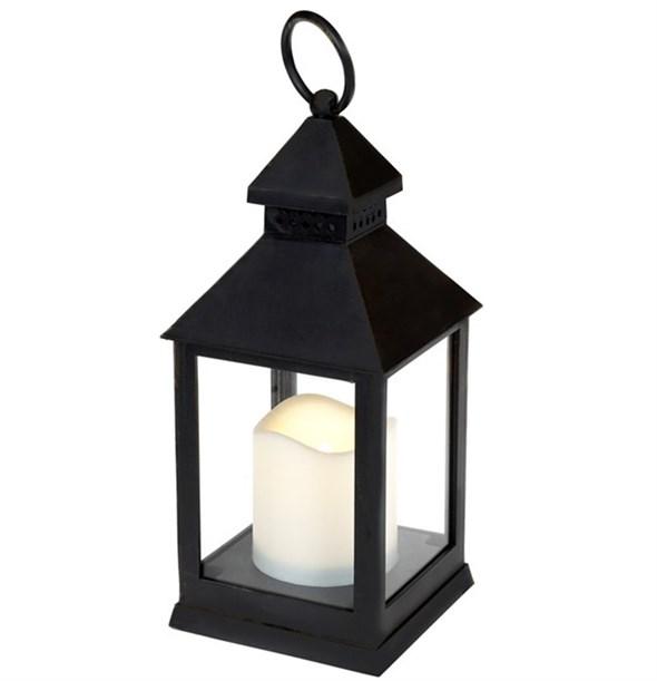Фонарь светодиодный со свечой черный - фото 28814