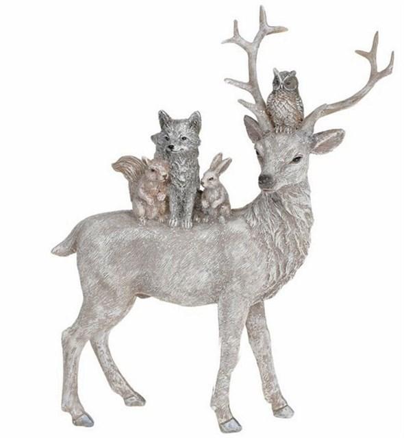 """Статуэтка """"Лесные звери"""" 21 см серебристая - фото 28836"""