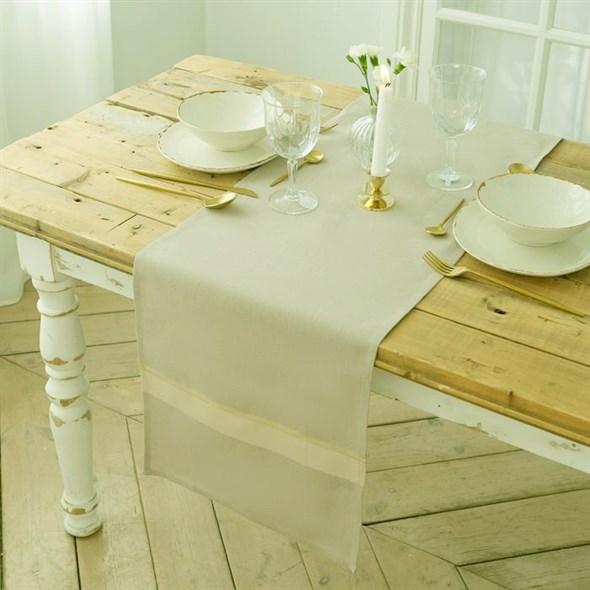 """Дорожка на стол """"Пастель"""" 35х130 см серая, хлопок - фото 28848"""