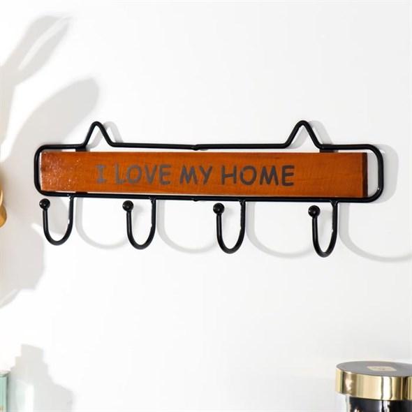 """Вешалка настенная с крючками """"Я люблю свой дом"""" коричневый - фото 29495"""