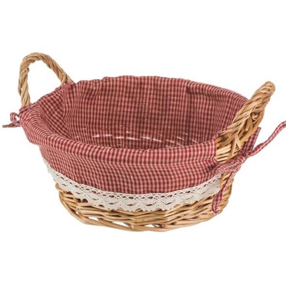 Корзинка круглая с красной подкладкой M - фото 6756