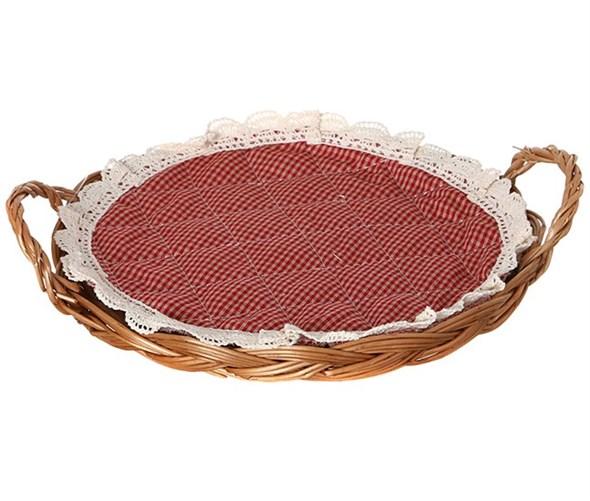 Корзинка для хлеба с красной салфеткой - фото 7054
