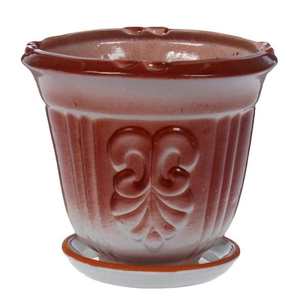 """Кашпо керамическое """"Медальон"""" коричневое, 1000 мл - фото 8235"""