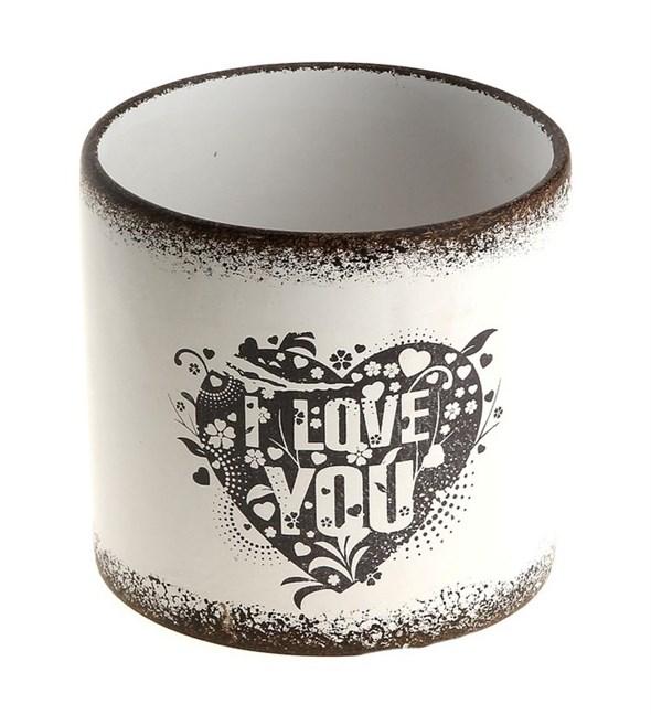 """Кашпо керамическое """"Я люблю тебя"""", 14x12 см - фото 8243"""