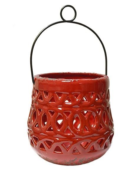 Подсвечник керамический с ручкой красный - фото 8594