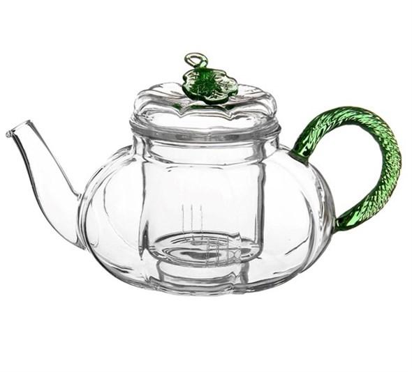 """Чайник """"Зеленый листок"""" заварочный стеклянный 600 мл - фото 8836"""