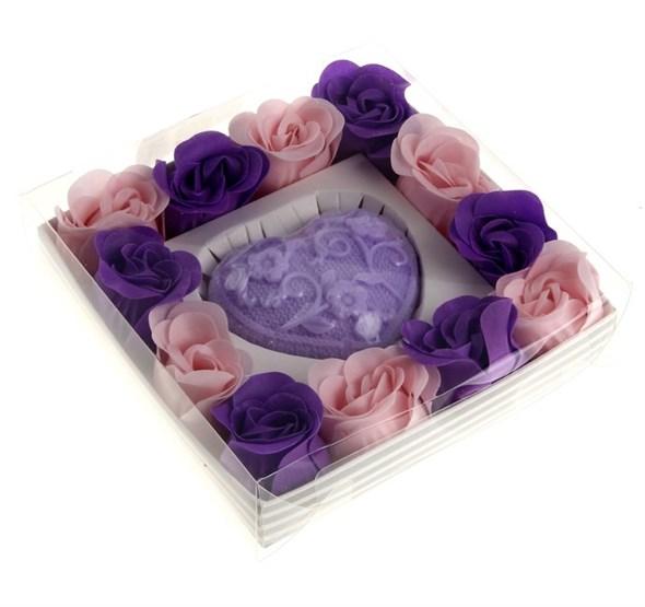 """Подарочный набор """"Лавандовое сердце"""": мыло 60 гр, мыльные лепестки - фото 8854"""