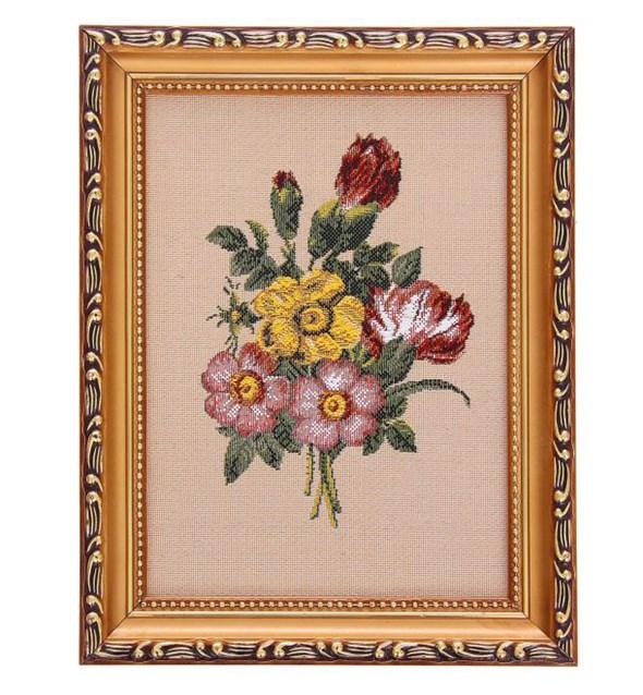 """Картина """"Хризантемы"""" из гобелена в раме - фото 8998"""