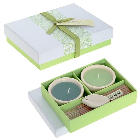 """Ароманабор """"Зеленый чай"""": 2 свечи, 8 ароматических палочек с подставкой - фото 9208"""