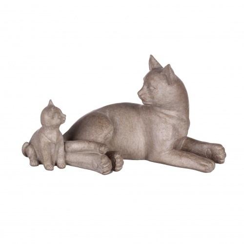 """Статуэтка """"Кошка с котенком"""" бежевая - фото 9262"""