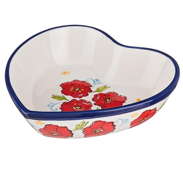 """Блюдо для сервировки и запекания """"Красные цветы"""" керамическое - фото 9344"""