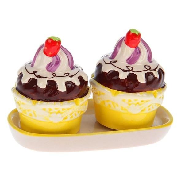 """Набор для специй """"Пирожное"""" на подставке желтый - фото 9460"""