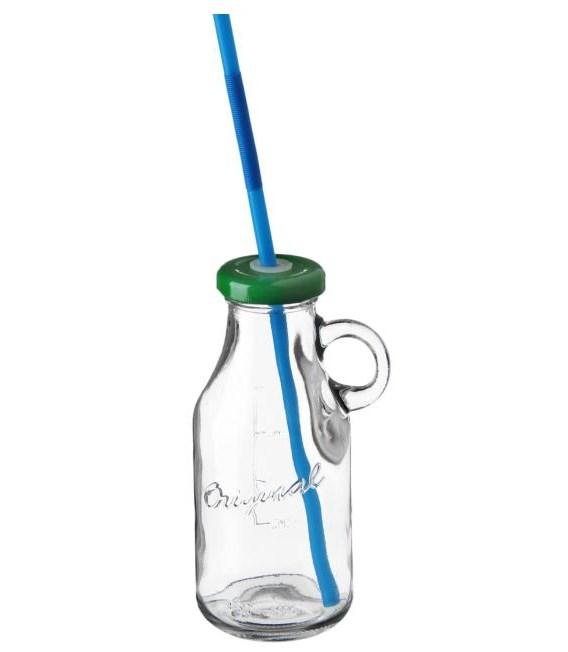 Бутылочка с крышкой под трубочку 200 мл в ассортименте - фото 9466