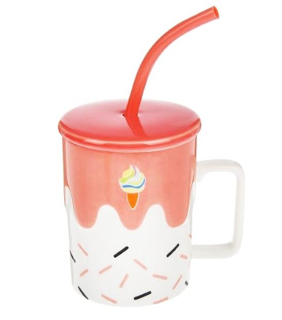 """Кружка """"Молочный коктейль"""" с крышкой и ложкой-соломинкой - фото 9469"""