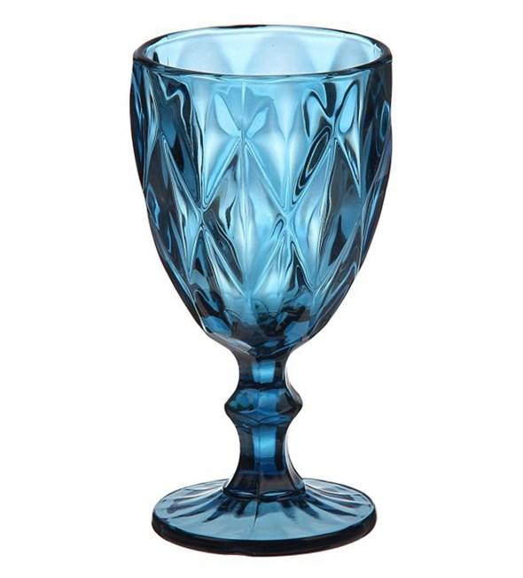 """Бокал """"Клетка"""" синий  300 мл из цветного стекла - фото 9531"""
