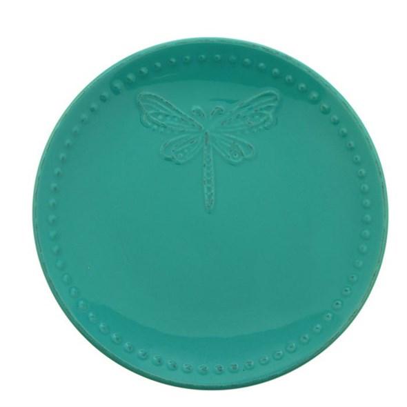 """Тарелка """"Стрекоза"""" диаметр 20 см бирюзовая - фото 9569"""